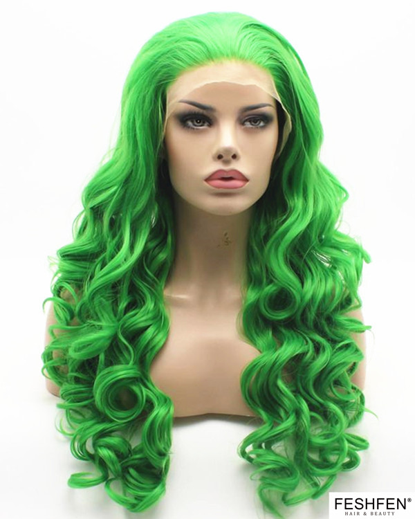 2017 New Green Long Wavy Synthetic Lace Front Wigs 180% Density Body Wave Lace Wig