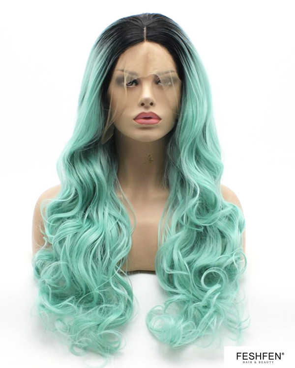 2018 New Black Mint Green Ombre Long Wavy Synthetic Lace Front Wigs 180% Density Body Wave Wig