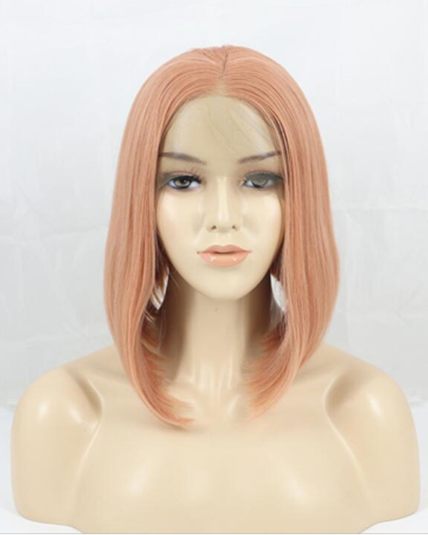2018 Rose Gold Short Straight Bob Synthetic Lace Front Wig 180% Density Straight Lace Wig