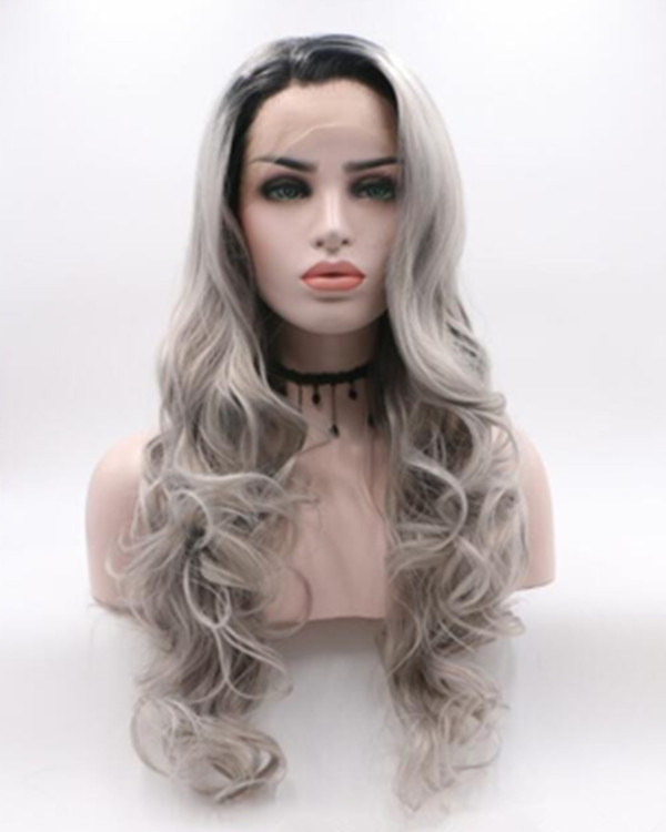 2018 New Black Grey Ombre Long Wavy Synthetic Lace Front Wig 180% Density Grey Ombre Long Wavy Lace Wig