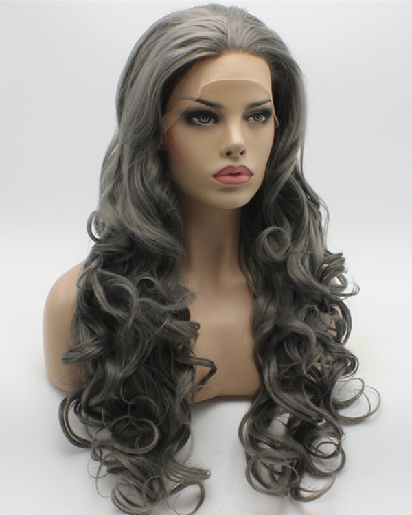 2017 New Arrival Smoky Grey Dimgray Long Wavy Synthetic Lace Front Wig 180% Density Long Wavy Lace Wig