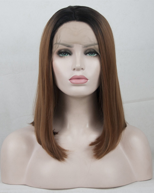 2018 Black Brown Ombre Straight Bob Synthetic Lace Front Wig #1B/30 Ombre Short Straight Lace Wig 180% Density
