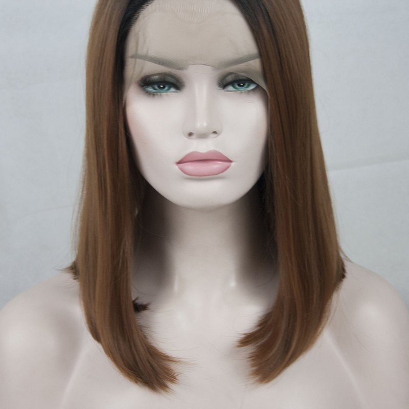 2018 Black Brown Ombre Straight Bob Synthetic Lace Front Wig 1b 30