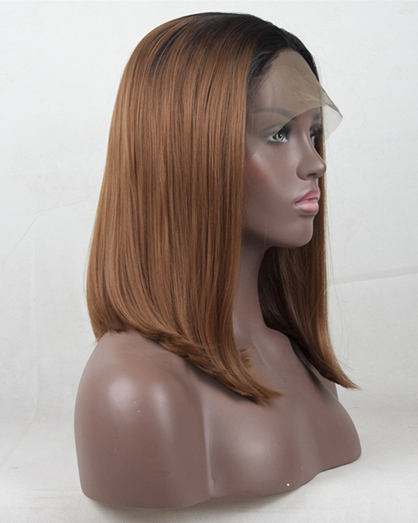 2018 Brown Ombre #4/30 Straight Bob Synthetic Lace Front Wig Short Straight Lace Wig 180% Density