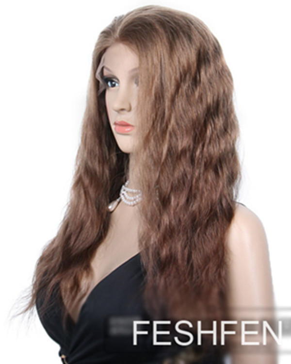 "22"" Wavy Remy Hair Human Hair Full Lace Wigs-#30 Light Auburn"