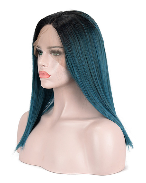 2018 New Arrival Black Blue Ombre Medium Long Straight Synthetic Lace Front Wig 180% Density #1B/Blue Ombre Hair Lace Wig