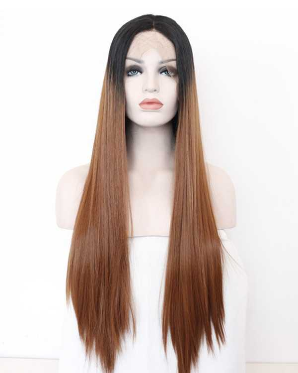 2018 New Black Brown Ombre Synthetic Lace Front Wigs 180% Density Long Straight Wig