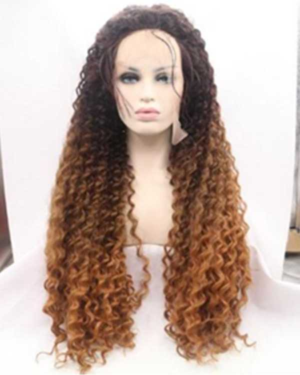 2018 New Black Brown Ombre Kinky Curly Synthetic Lace Front Wigs 180% Density Long Curly Wave Wig
