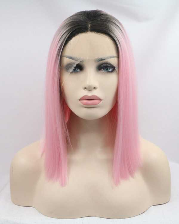 2017 New Arrival Black Pink Ombre Synthetic Straight Lace Front Wigs #1B/Pink Ombre Short Straight Hair Wig