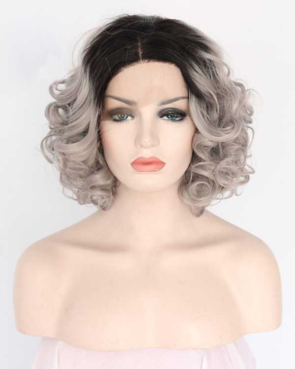 2017 New Arrival Granny Grey Ombre Short Wavy Synthetic Lace Front Wigs 180% Density #1B/Grey Hair Wig