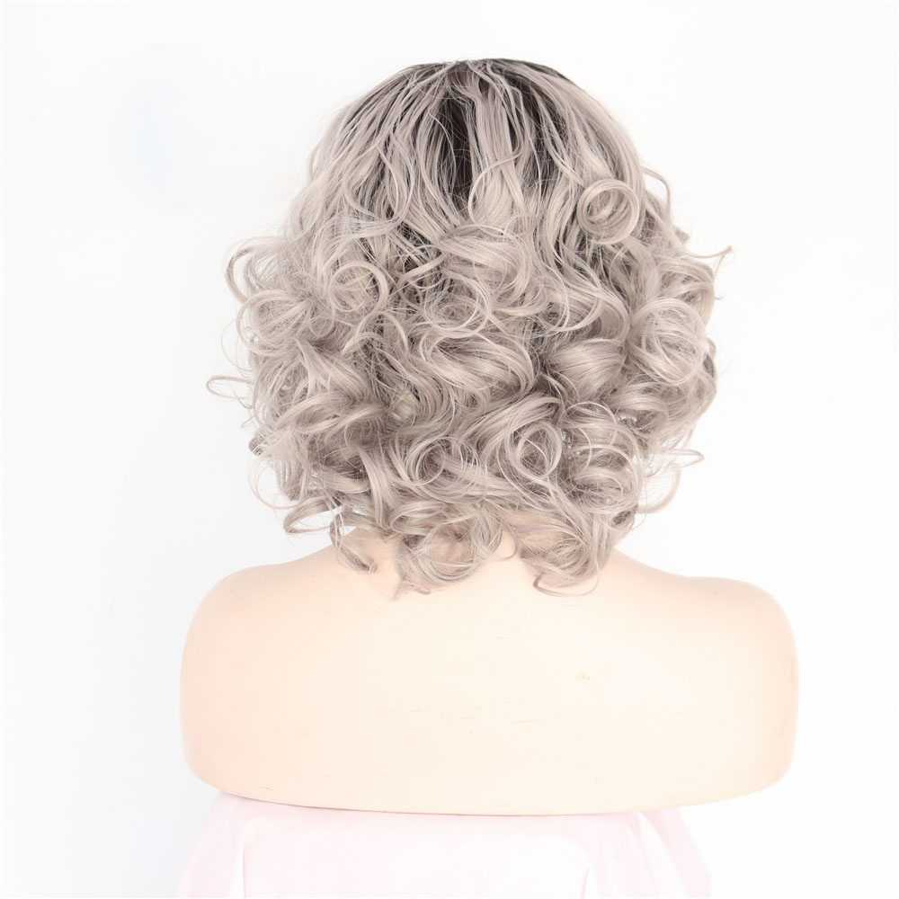 2018 New Arrival Granny Grey Ombre Short Wavy Synthetic Lace Front Wigs 180% Density #1B/Grey Hair Wig