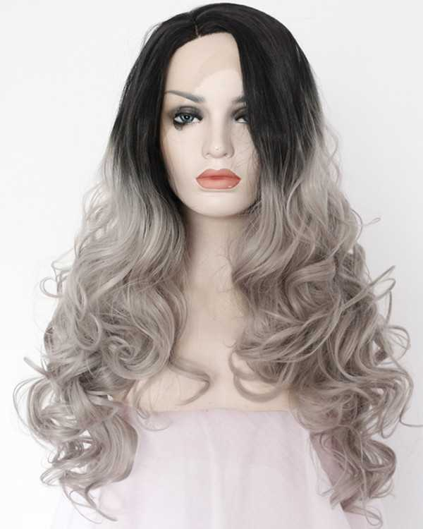 2018 New Arrival Granny Grey Ombre Long Wavy Synthetic Lace Front Wigs 180% Density #1B/Grey Hair Wig