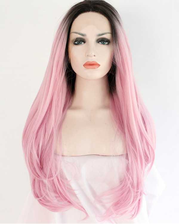 2017 New Arrival Black Pink Ombre Long Straight Synthetic Lace Front Wig 180% Density #1B/Pink Wig