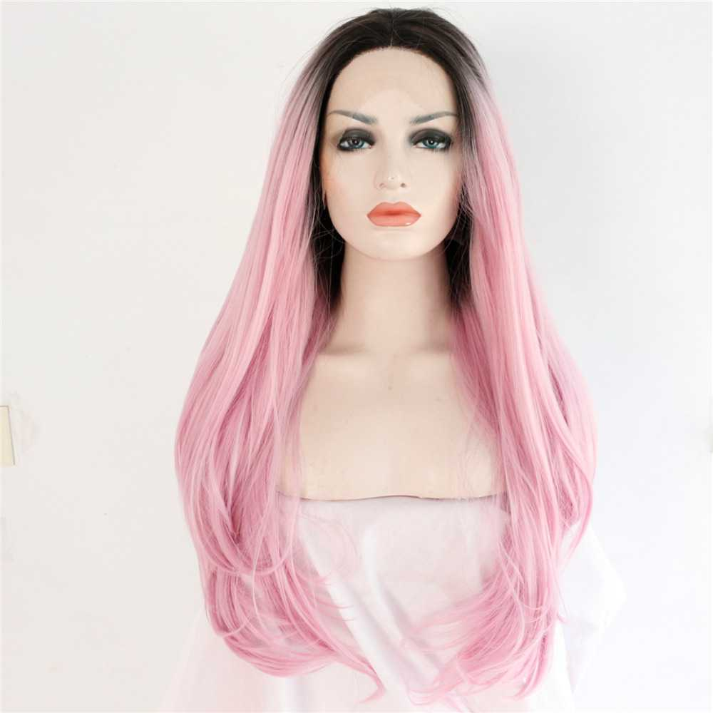 2018 new arrival black pink ombre long straight synthetic