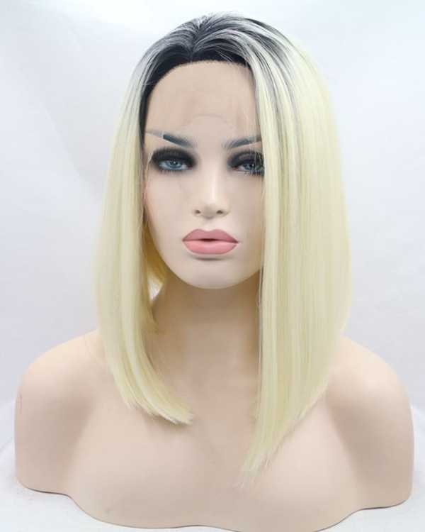 2017 New Arrival Light Blonde Ombre Bob Synthetic Lace Front Wigs 180% Density Black Blonde Short Straight Hair Wig
