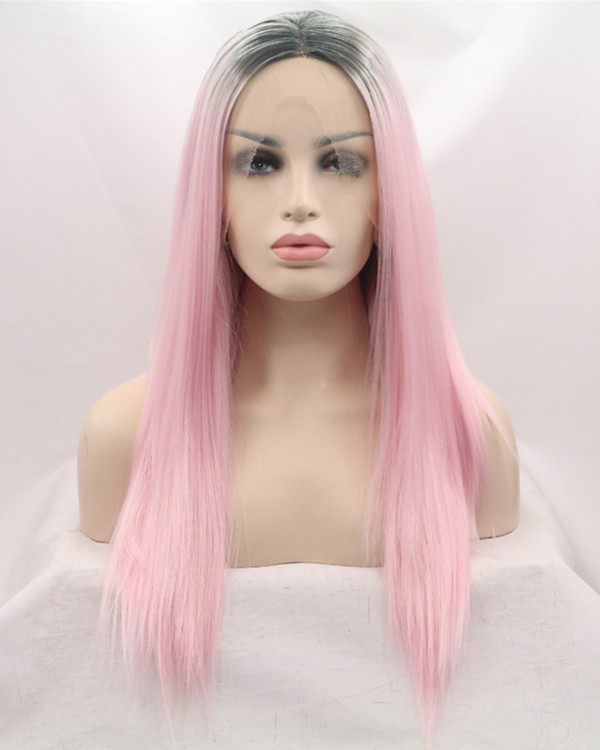 2017 New Arrival Black Pink Ombre Synthetic Lace Front Wigs 180% Density Long #1B/Pink Straight Ombre Wig