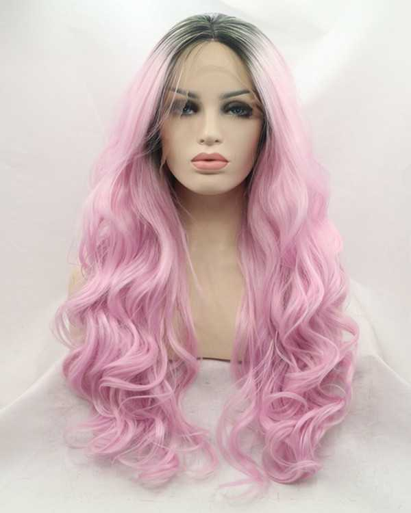 2017 New Black Violet Ombre Synthetic Lace Front Wig 180% Density Pink Purple Long Wavy Mermaid Lace Wig