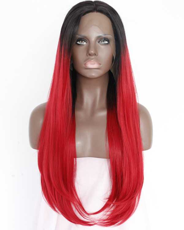 2017 New Black Red Ombre Synthetic Straight Lace Front Wigs #1B/Red Ombre Long Straight Hair Wig