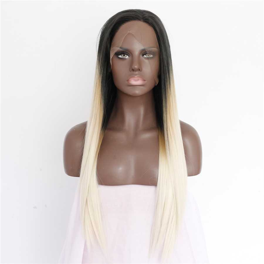 2017 New Arrival Light Blonde Ombre Synthetic Lace Front Wig 180% Density Black Blonde Long Straight Hair Wig