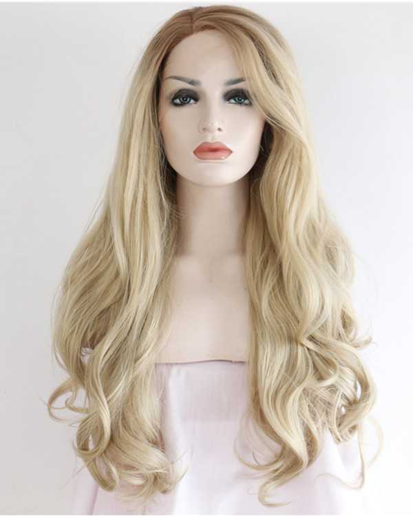 2017 New Ash Blonde Synthetic Lace Front Wigs Long Wavy Light Hair Wig