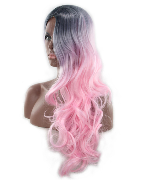 2018 New Ombre Pink Black Pink Ombre Long Wavy Cosplay Wig #1B/Pink Costume Wig For Women