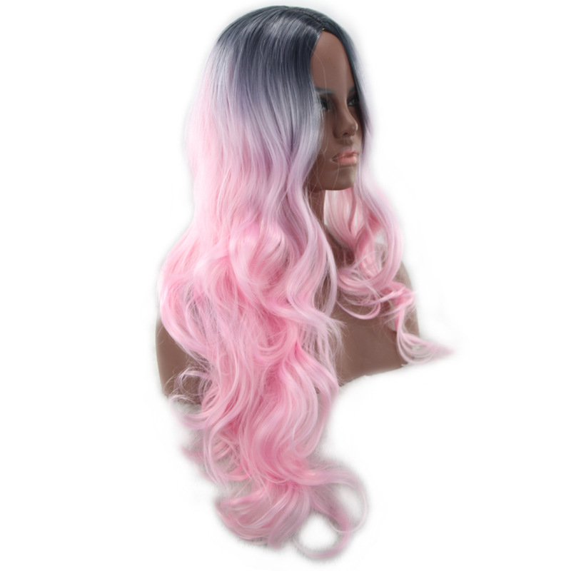 2018 New Ombre Pink Black Pink Ombre Long Wavy Cosplay Wig