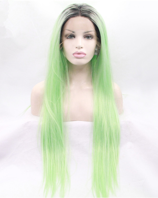 2018 New Arrival Mint Green Ombre Straight Synthetic Lace Front Wigs 180% Density Long Green Blue Straight Wig
