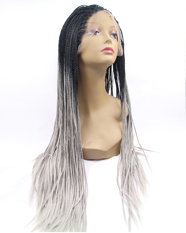 2018 New Grey Ombre Braiding Synthetic Lace Front Wig 180% Density Long Hand-weaved Black Grey Ombre Braiding Wig