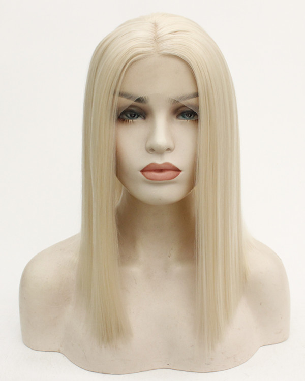 FESHFEN 2019 New Blonde #613 Medium Length Synthetic Lace Front Wig Light Blonde Hair Lace Wig