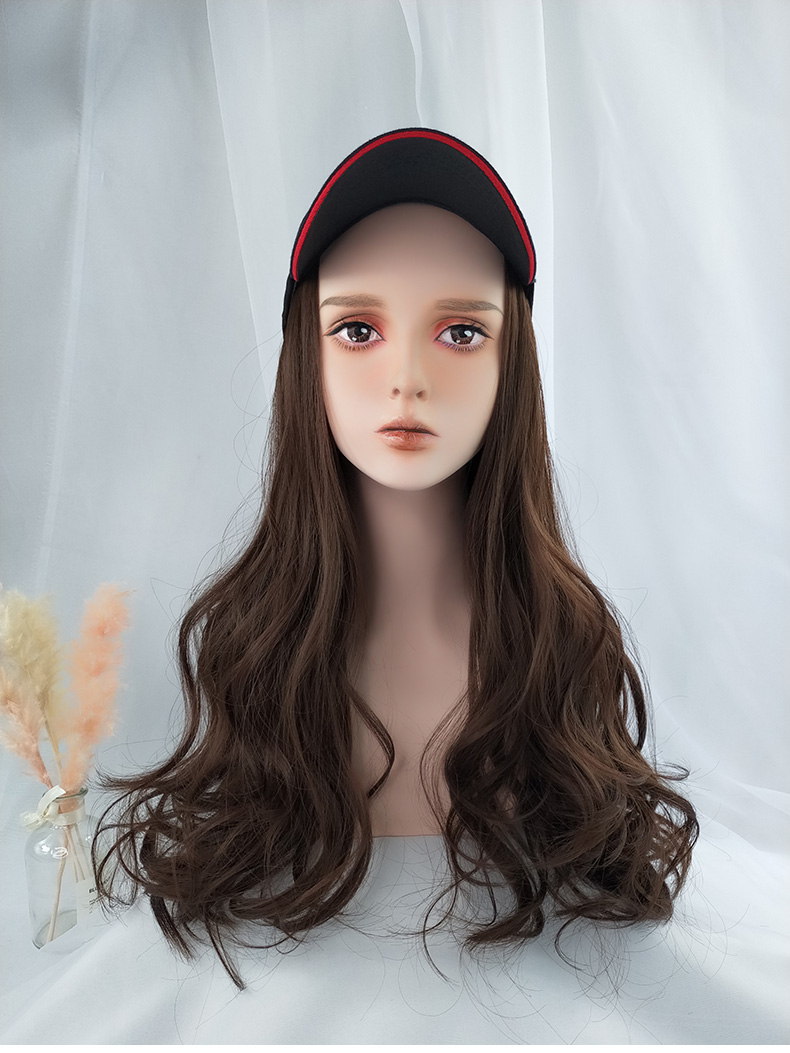2019 New Trendy Brown Long Wavy Chic Wig Hat Casual