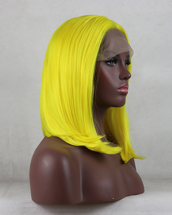 FESHFEN New Yellow Bob Straight Sythentic Lace Front Wig 180% Density Lace Wig