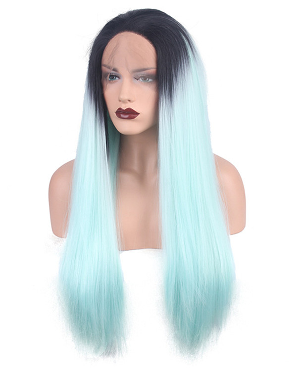 2018 New Mint Blue Ombre Synthetic Lace Front Wig Black Mint Blue Long Straight Ombre Hair Wig Lace WIg