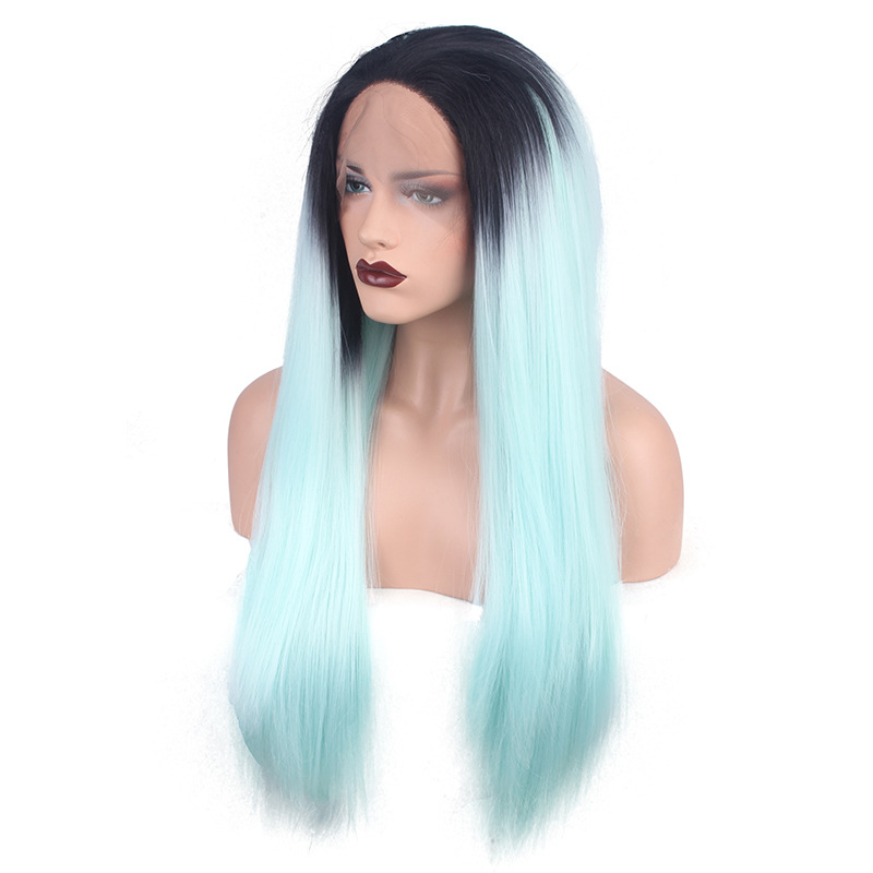 Imstyle Straight Synthetic Mint green 24 Inches long lace ... |Mint Hair Wig