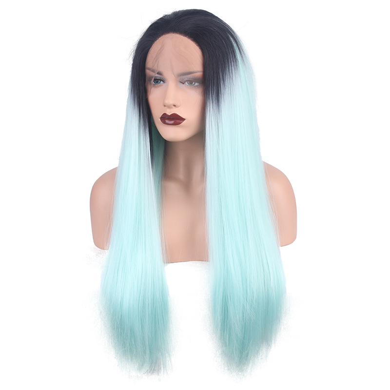 """24""""60CM LONG STRAIGHT WIG SYNTHETIC HAIR OMBRE BLACK AND ... 