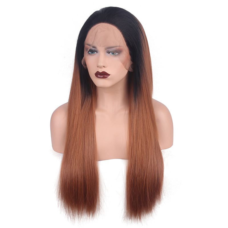 2018 New Black Brown #1B/30 Ombre Synthetic Lace Front Wig Black Brown Ombre Long Straight Hair Wig Lace WIg