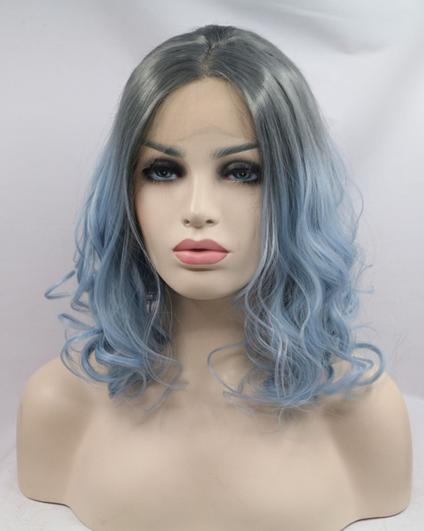 FESHFEN 2018 Hot Black Blue Ombre Short Wavy Synthetic Lace Front Wig 180% Density Lace Wig