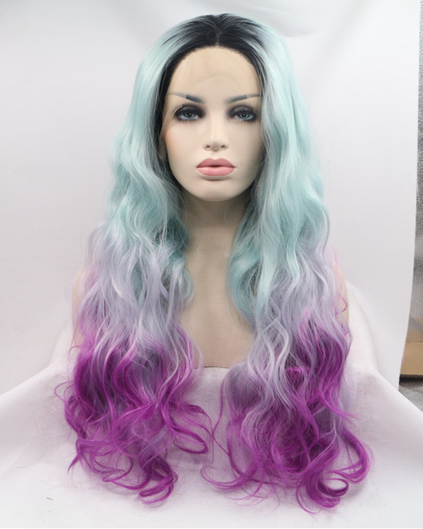 2017 New Black Root Green Purple Magenta Colorful Long Wavy Synthetic Lace Front Wig 180% Density Mixed Color Mermaid Lace Wig
