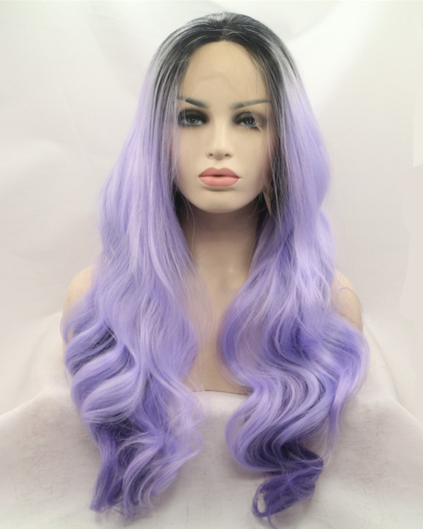 2018 New Black Root Lavender Purple Ombre Long Wavy Synthetic Lace Front Wig 180% Density Elegant Lilac Purple Violet Wig