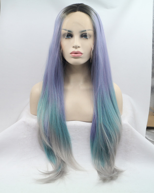 2017 New Black Root Purple Blue Grey Colorful Long Slight Wavy Synthetic Lace Front Wig 180% Density Mixed Color Lace Wig