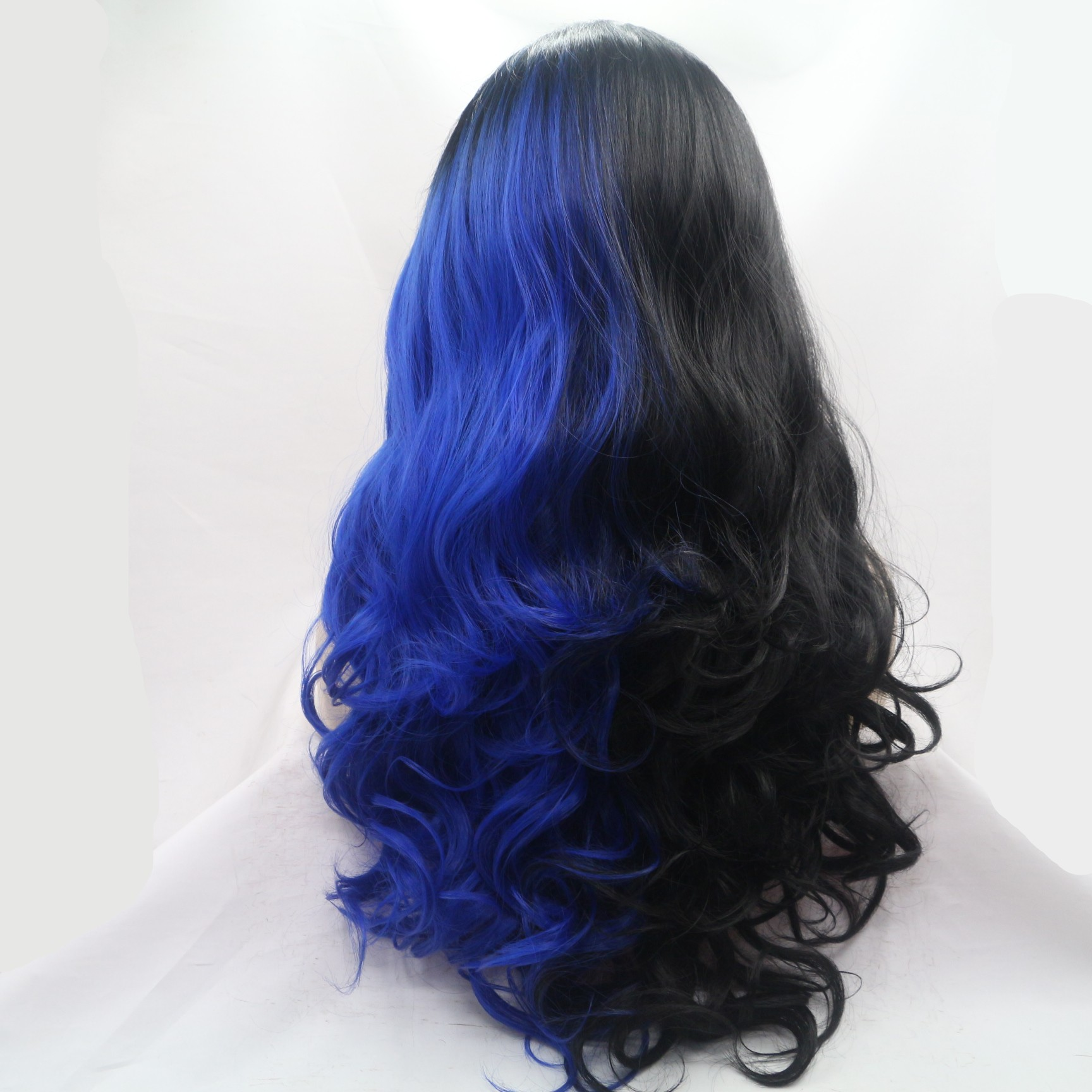 2018 New Unique Coloring Black Blue Half Tones Long Wavy Synthetic Lace Front Wig 180% Density Lace Wig