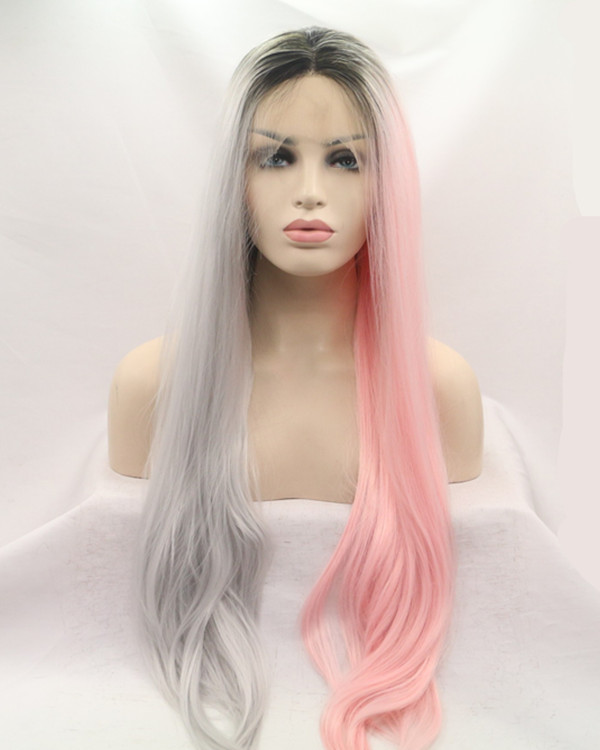 2017 New Unique Coloring Black Root Silver Grey Pink Half Tones Long Straight Synthetic Lace Front Wig 180% Density Lace Wig