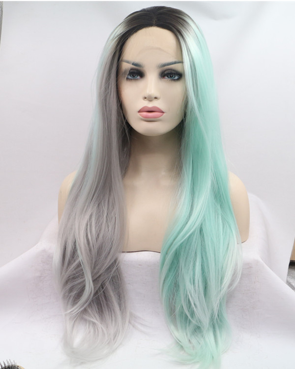 2018 New Unique Coloring Black Root Silver Grey Green Half Tones Long Straight Synthetic Lace Front Wig 180% Density Lace Wig