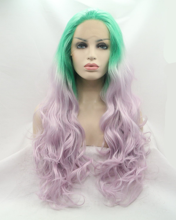 2017 New Green Lilac Ombre Long Wavy Synthetic Lace Front Wig 180% Density Two Tones Mixed Color Lace Wig