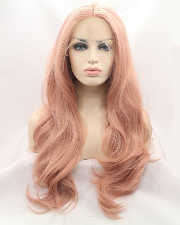 2017 Best Seller Rose Gold Synthetic Lace Front Wig 180% Density Long Wavy Lace Wig