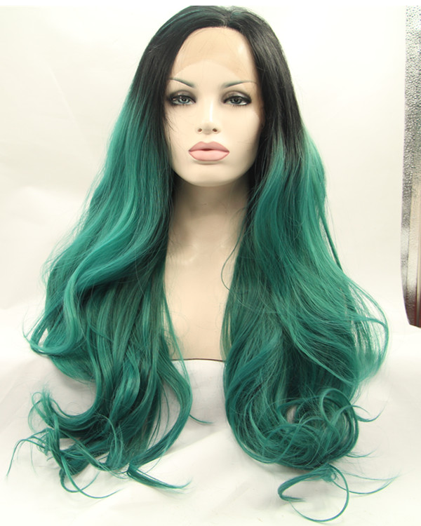 2018 New Black Green Ombre Long Wavy Synthetic Lace Front Wigs 180% Density Body Wave Lace Wig