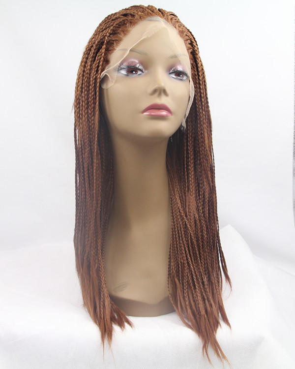 2018 New Auburn Braiding Medium Long Synthetic Lace Front Wig 180% Density #30 Medium Length Hand-weaved Braiding Lace Wig