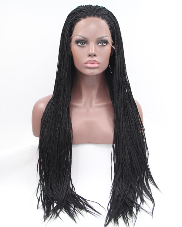 2018 New Natural Black Braiding Synthetic Lace Front Wig 180% Density Long Hand-weaved Black Braiding Lace Wig
