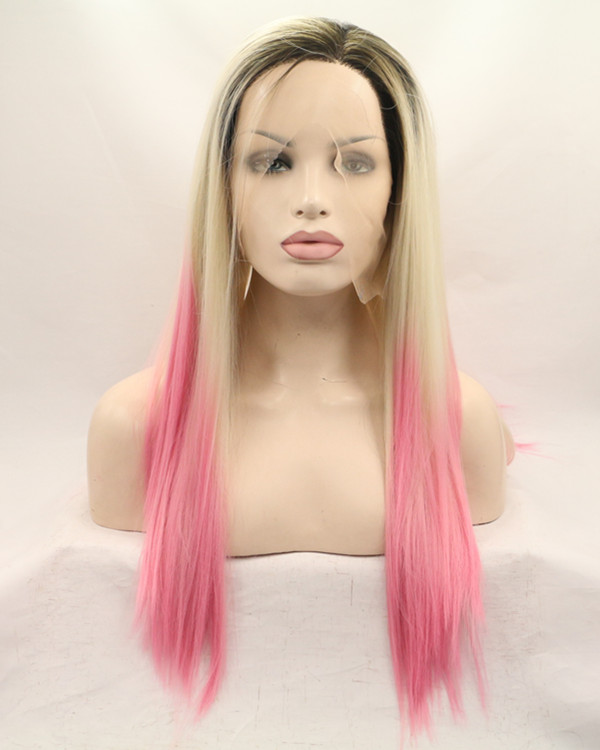 FESHFEN Black Root Blonde Pink Ombre Long Straight Synthetic Lace Front Wig 180% Density Lace Wig