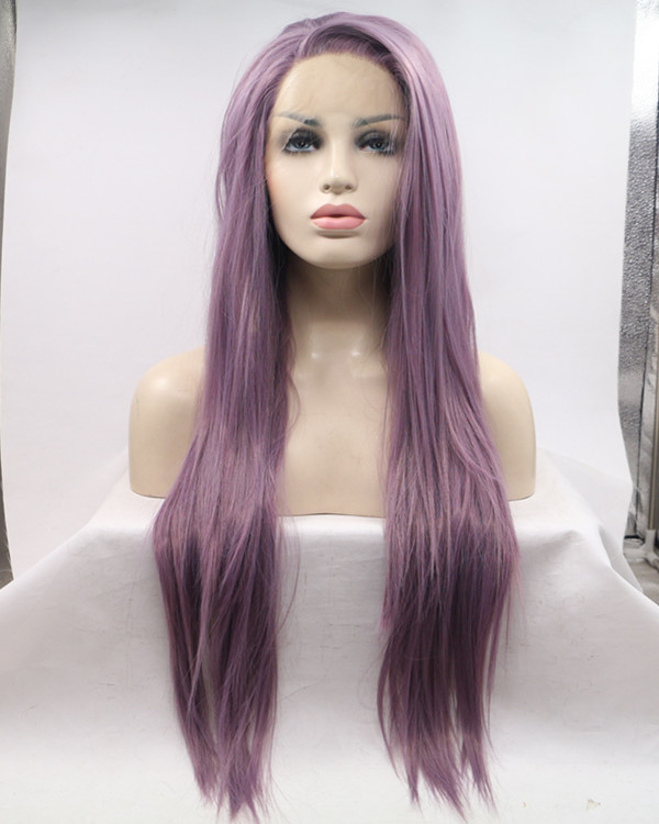 2017 Lavender Purple Long Straight Synthetic Lace Front Wig 180% Density Elegant Lilac Purple Violet Wig