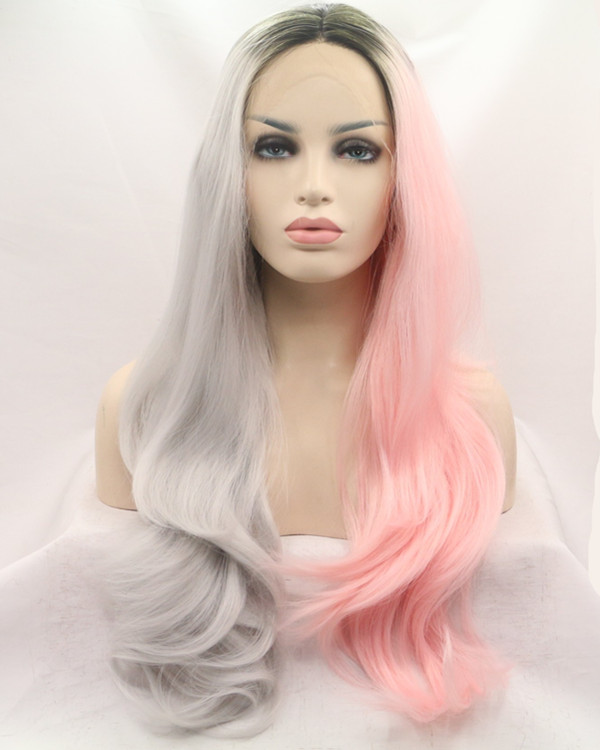 2017 New Unique Coloring Black Root Silver Grey Pink Half Tones Long Wavy Synthetic Lace Front Wig 180% Density Lace Wig